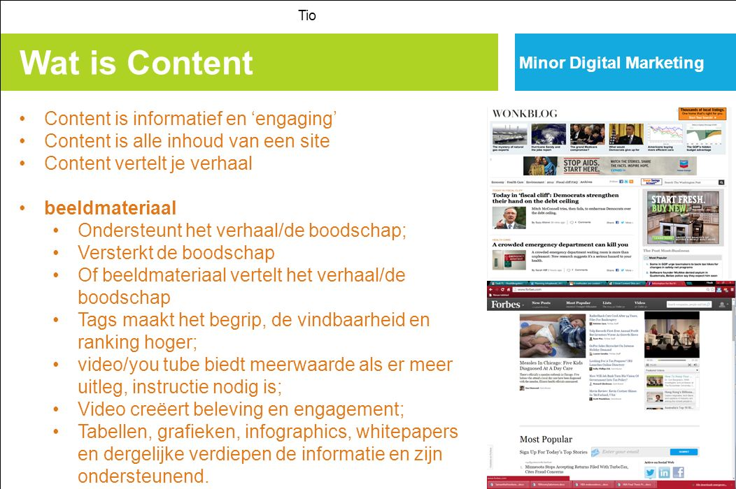 Wat is Content Content is informatief en 'engaging'