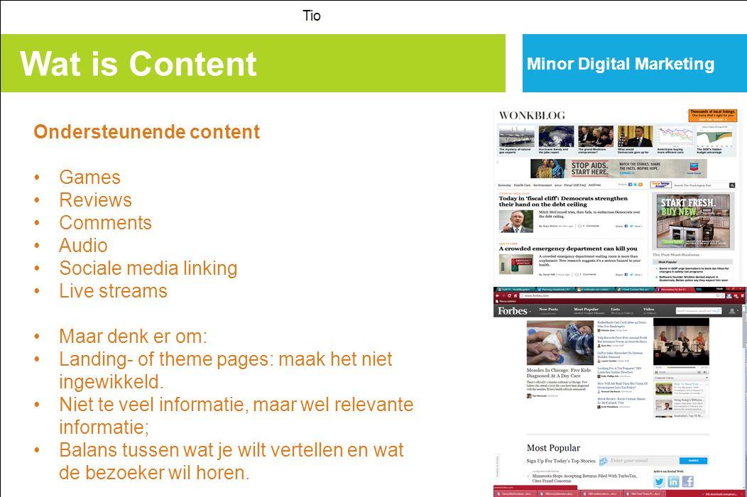 Wat is Content Ondersteunende content Games Reviews Comments Audio