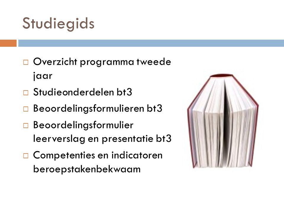 Studiegids Overzicht programma tweede jaar Studieonderdelen bt3