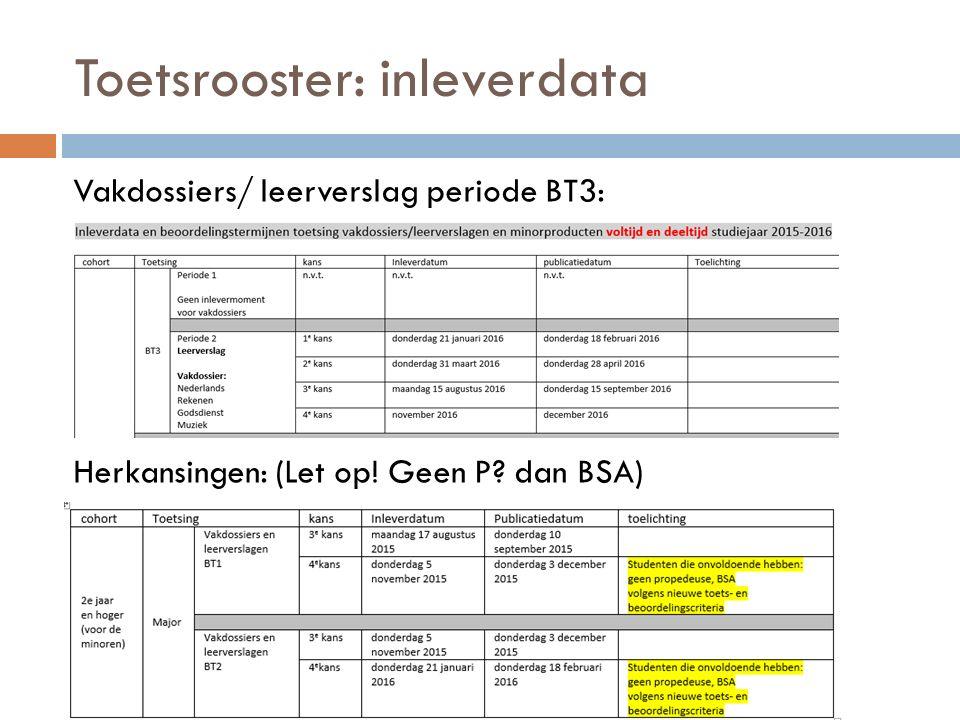 Toetsrooster: inleverdata