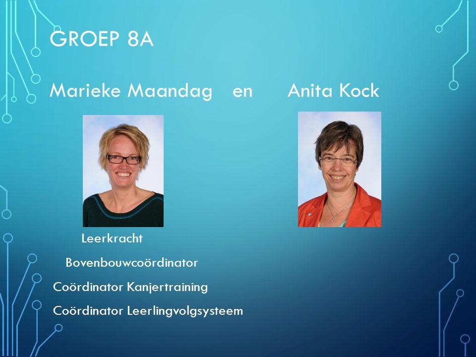 Groep 8A Marieke Maandag en Anita Kock Leerkracht Bovenbouwcoördinator
