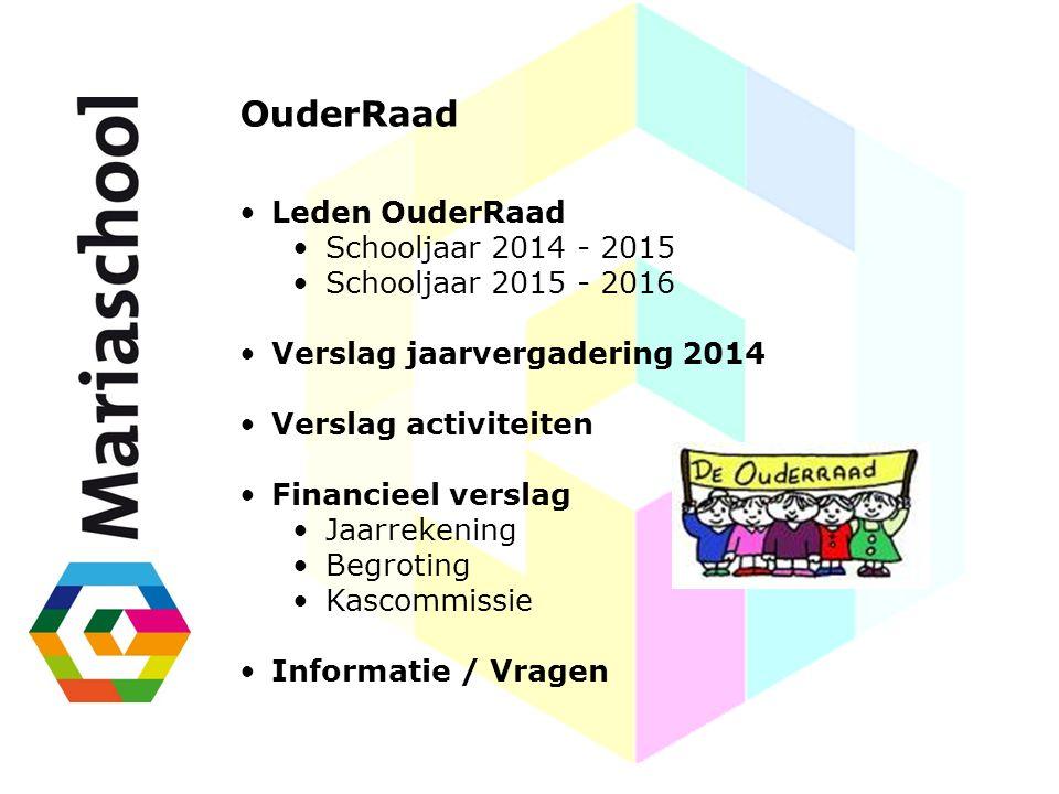 OuderRaad Leden OuderRaad Schooljaar 2014 - 2015