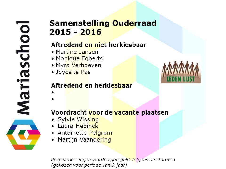 Samenstelling Ouderraad 2015 - 2016