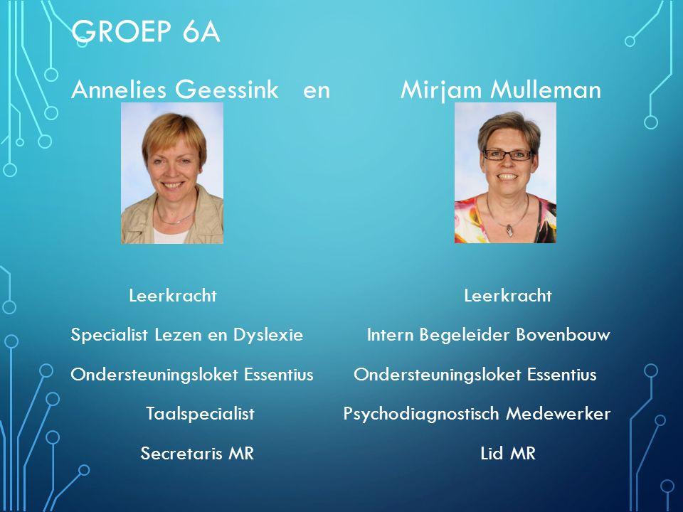 Groep 6A Annelies Geessink en Mirjam Mulleman Leerkracht Leerkracht