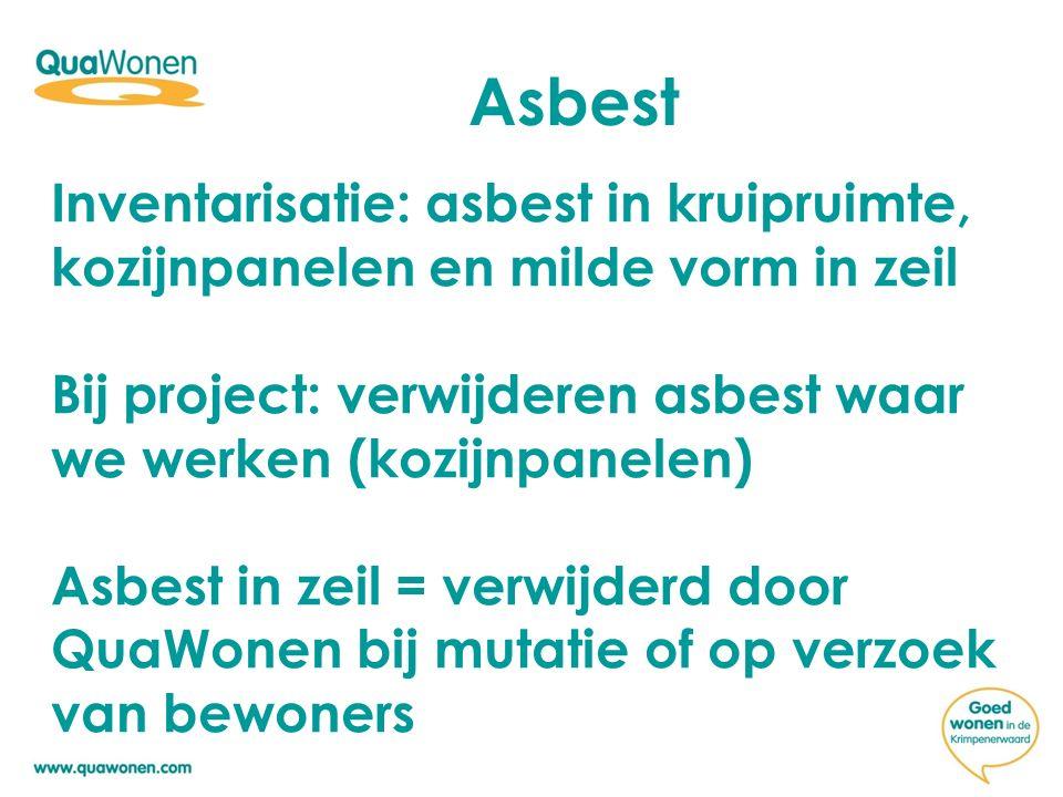 Asbest Inventarisatie: asbest in kruipruimte, kozijnpanelen en milde vorm in zeil. Bij project: verwijderen asbest waar we werken (kozijnpanelen)