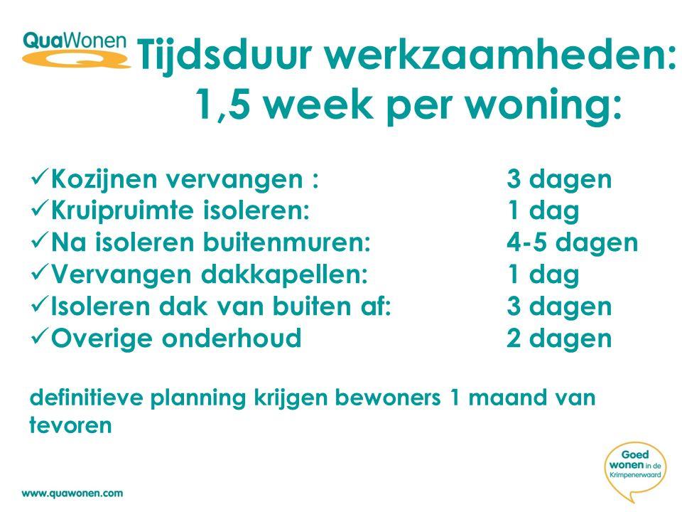 Tijdsduur werkzaamheden: 1,5 week per woning: