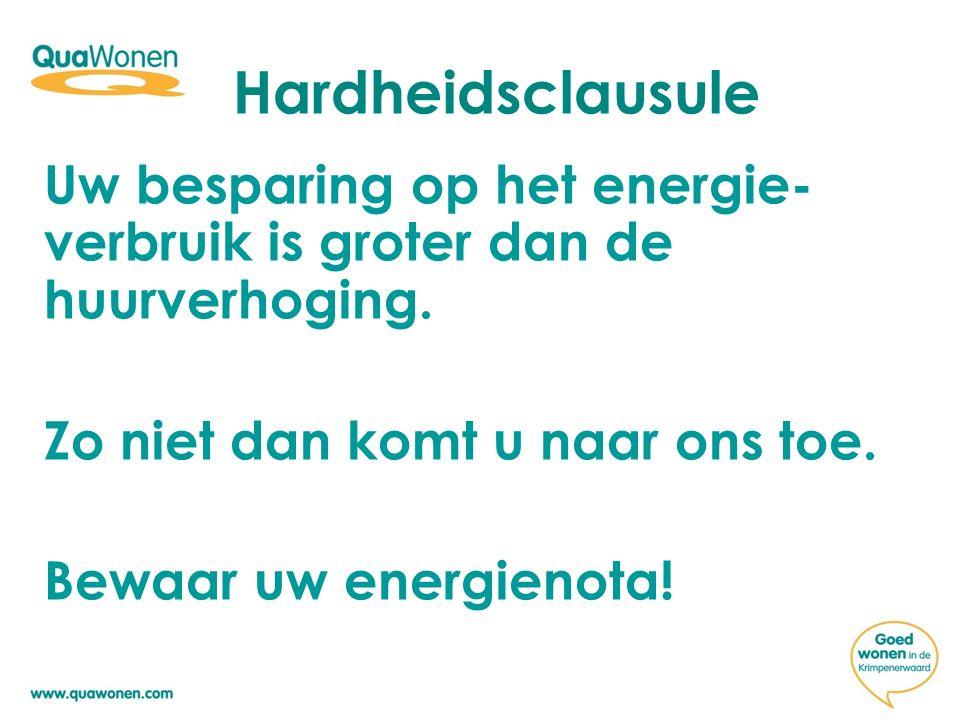 Hardheidsclausule Uw besparing op het energie-verbruik is groter dan de huurverhoging. Zo niet dan komt u naar ons toe.