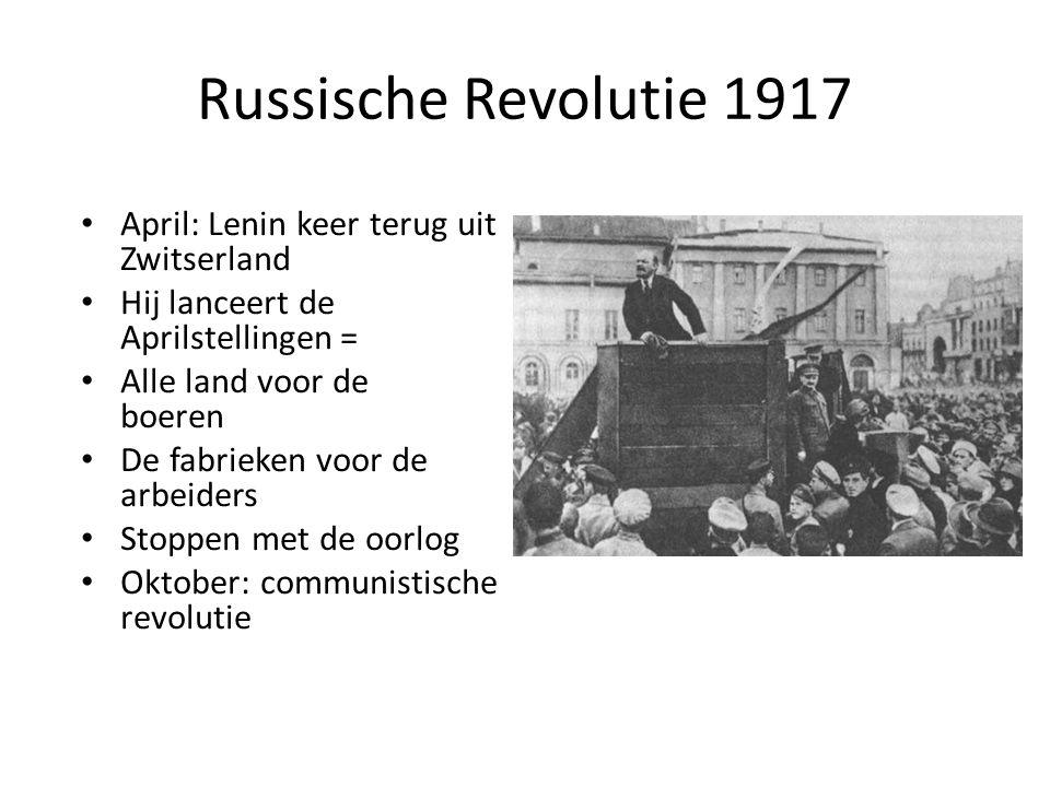 Russische Revolutie 1917 April: Lenin keer terug uit Zwitserland