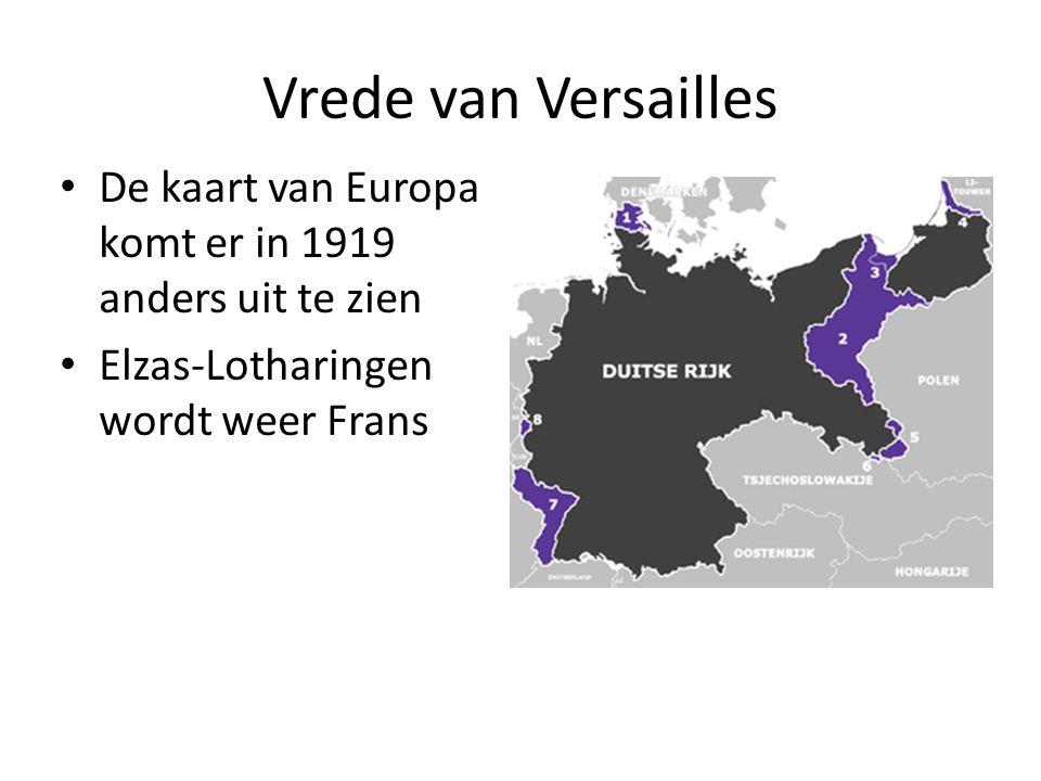 Vrede van Versailles De kaart van Europa komt er in 1919 anders uit te zien.