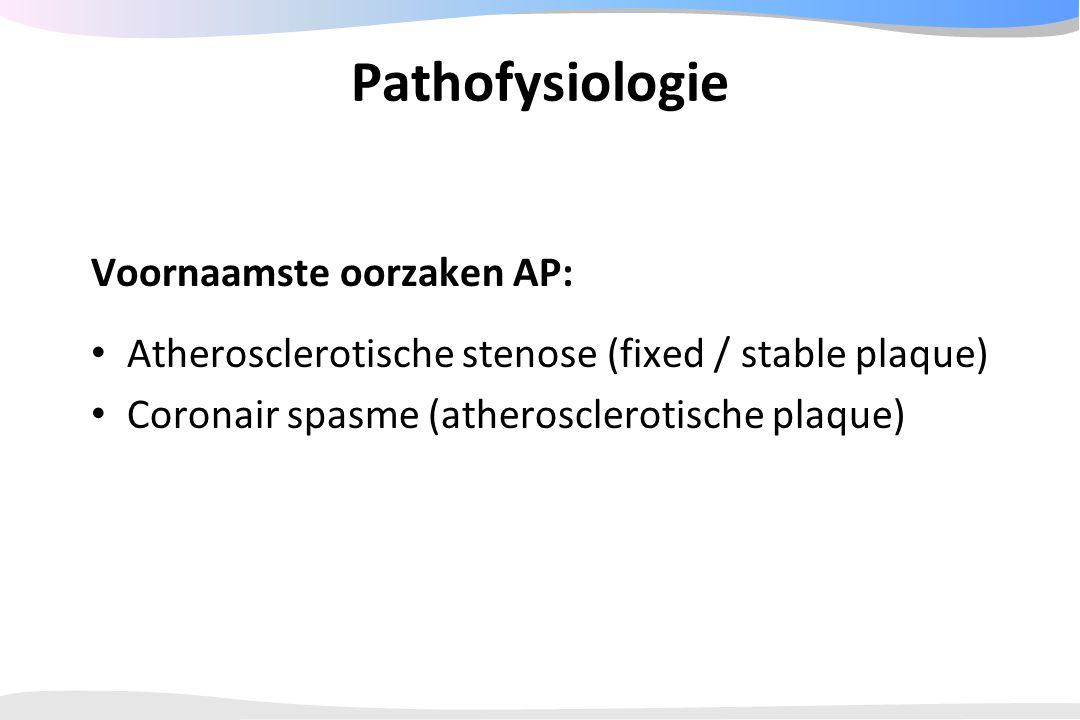 Pathofysiologie Voornaamste oorzaken AP:
