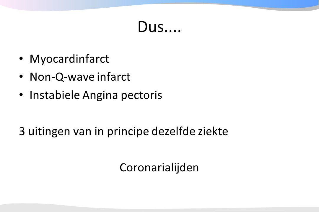 Dus.... Myocardinfarct Non-Q-wave infarct Instabiele Angina pectoris