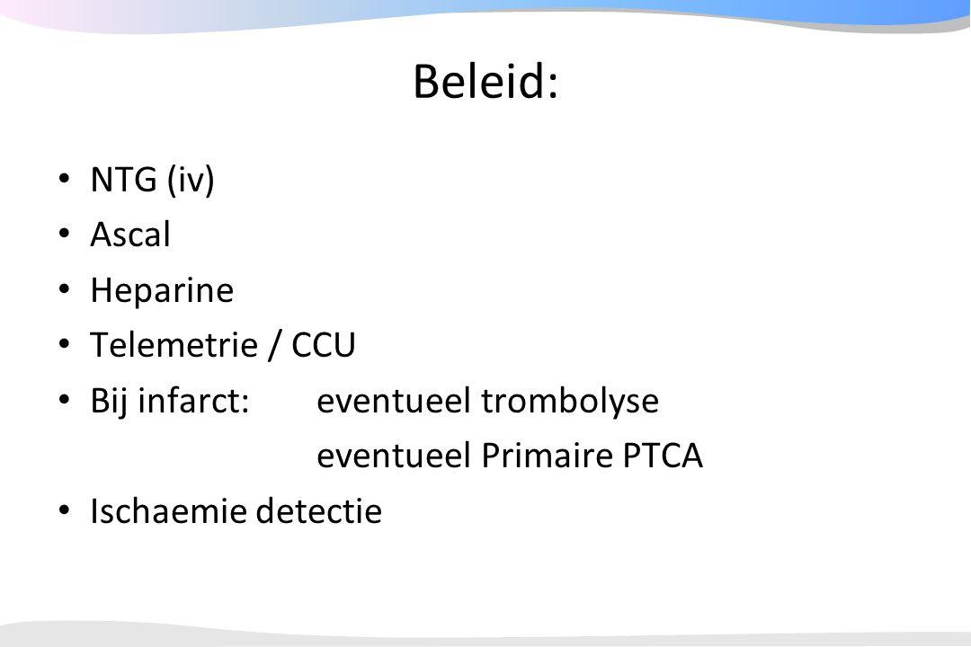 Beleid: NTG (iv) Ascal Heparine Telemetrie / CCU