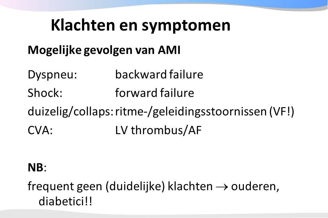 Klachten en symptomen Mogelijke gevolgen van AMI