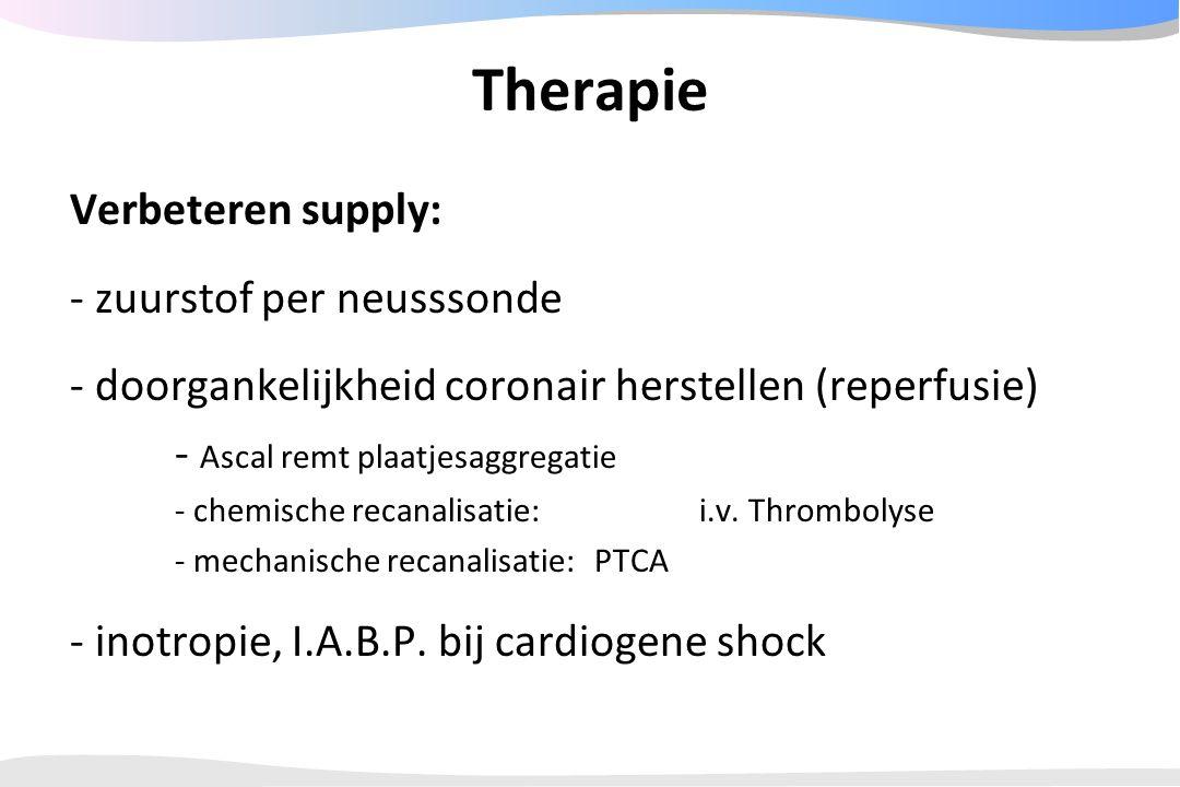 Therapie Verbeteren supply: - zuurstof per neusssonde