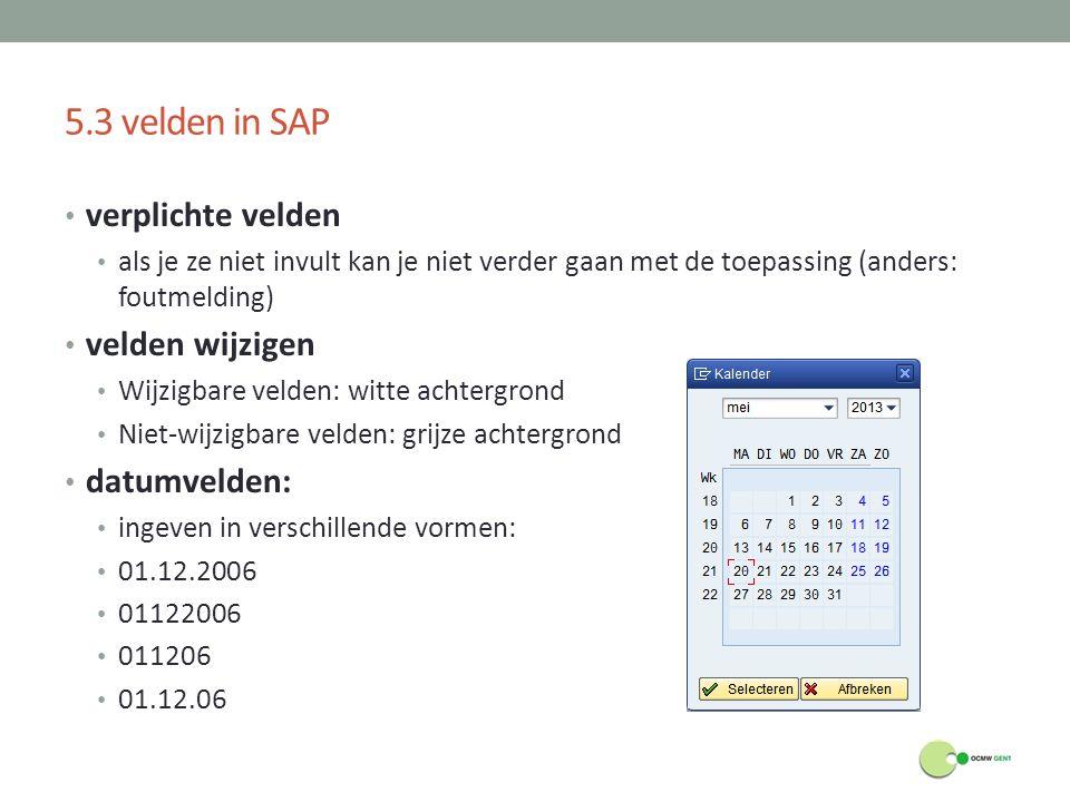 5.3 velden in SAP verplichte velden velden wijzigen datumvelden: