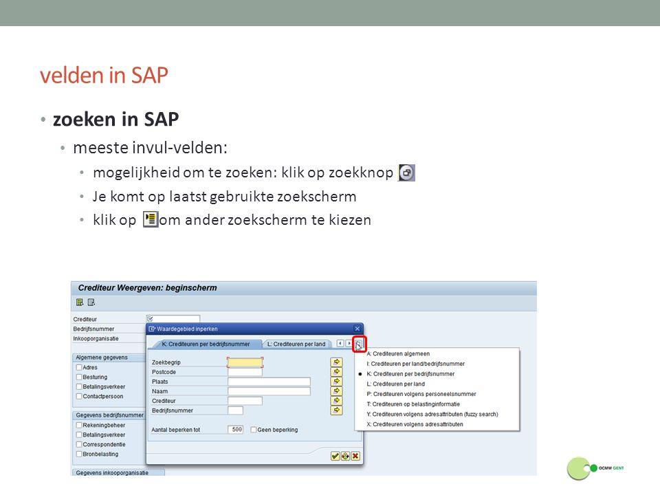 velden in SAP zoeken in SAP meeste invul-velden: