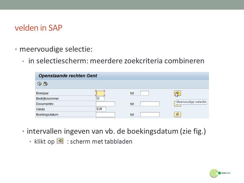 velden in SAP meervoudige selectie: