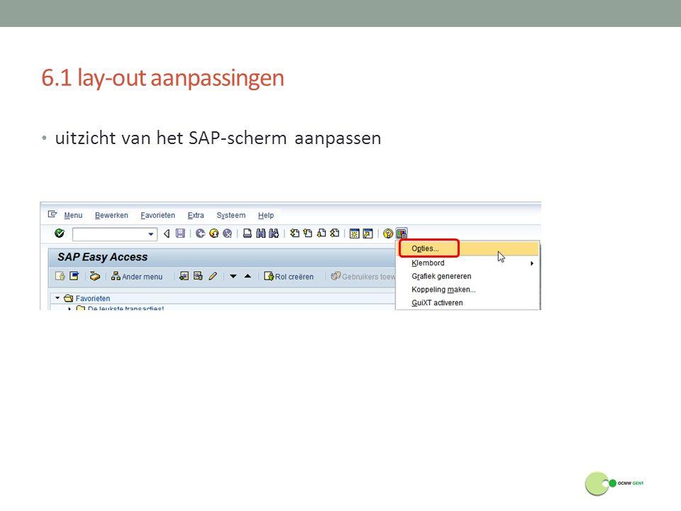 6.1 lay-out aanpassingen uitzicht van het SAP-scherm aanpassen
