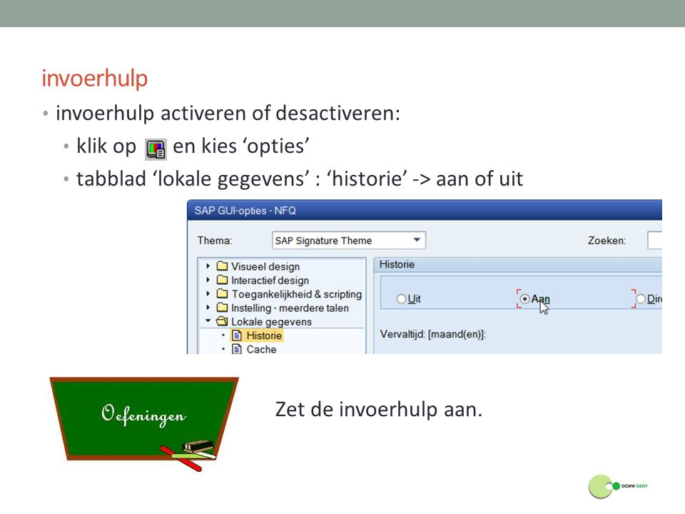 invoerhulp invoerhulp activeren of desactiveren:
