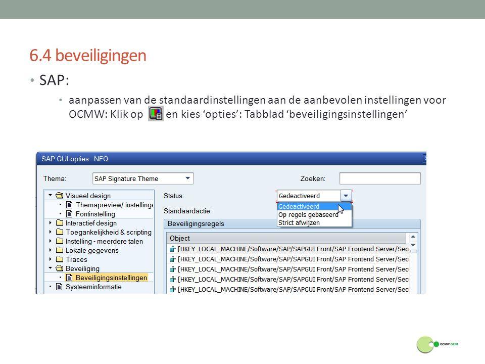 6.4 beveiligingen SAP: