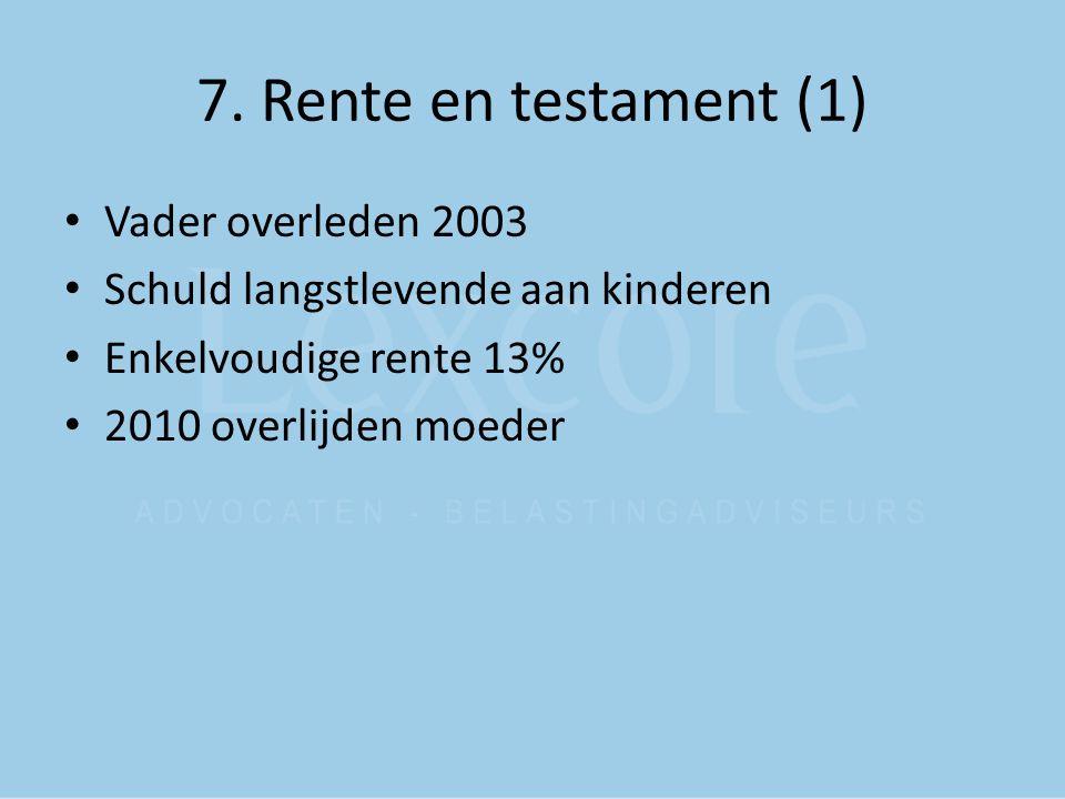 7. Rente en testament (1) Vader overleden 2003
