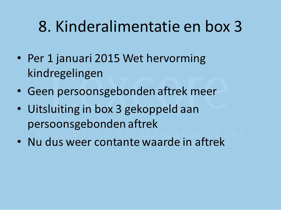 8. Kinderalimentatie en box 3