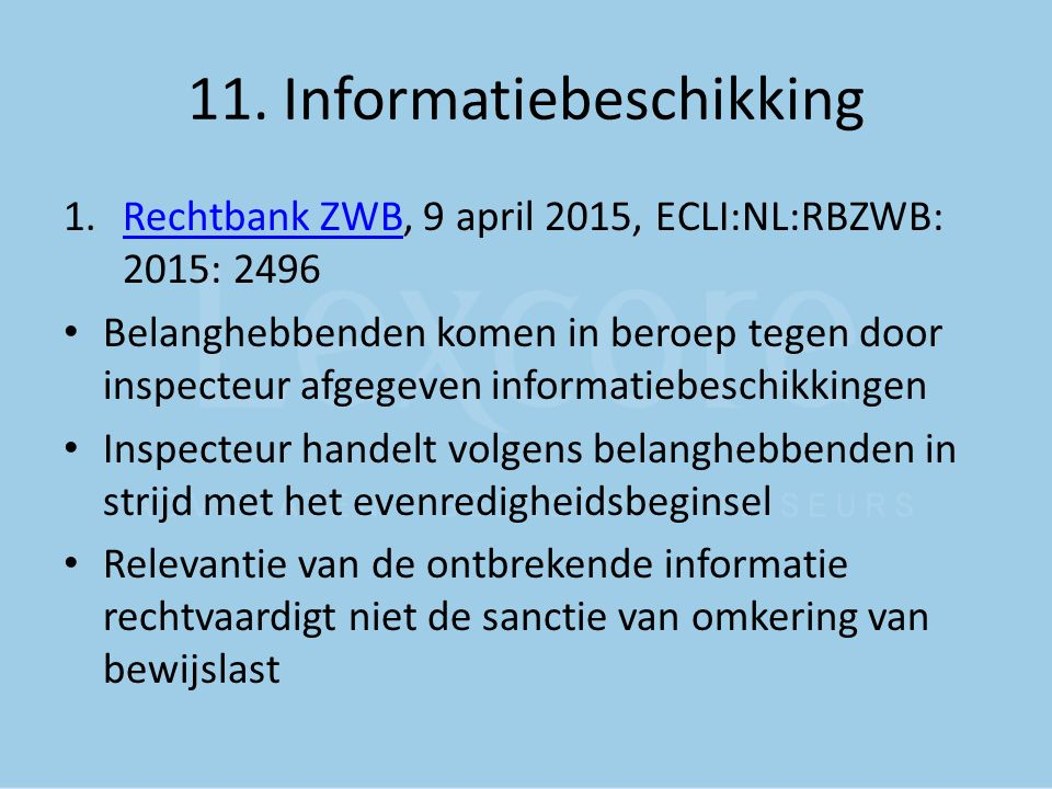 11. Informatiebeschikking