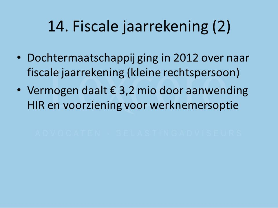 14. Fiscale jaarrekening (2)