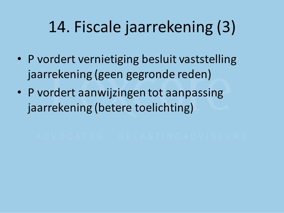 14. Fiscale jaarrekening (3)