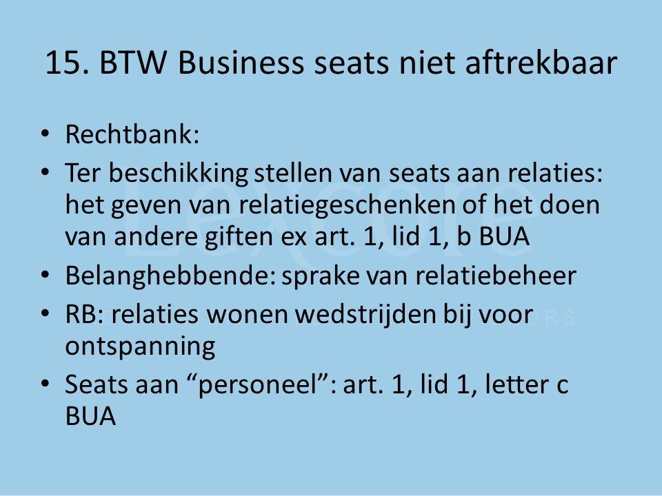 15. BTW Business seats niet aftrekbaar