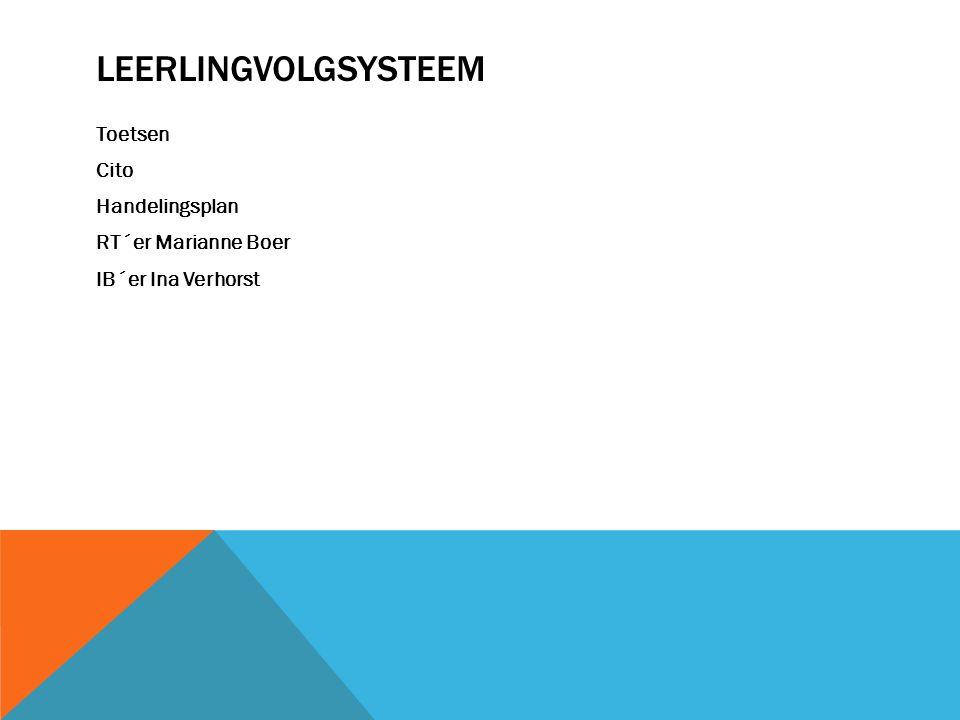 Leerlingvolgsysteem Toetsen Cito Handelingsplan RT´er Marianne Boer IB´er Ina Verhorst