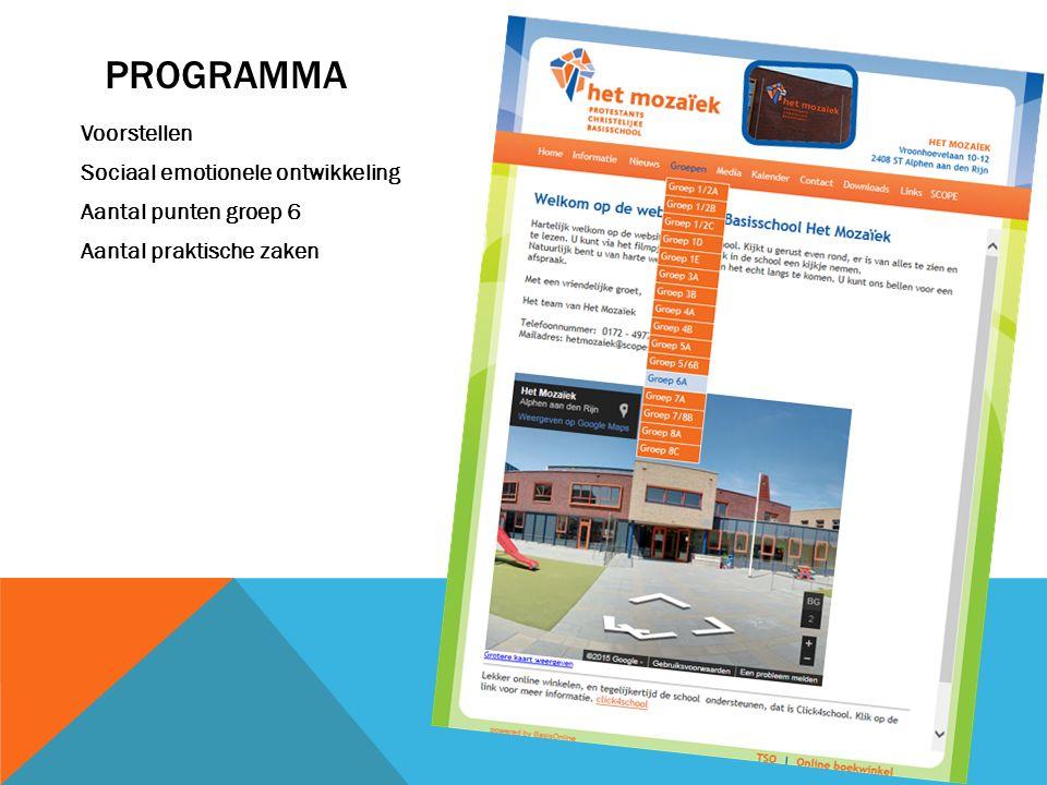Programma Voorstellen Sociaal emotionele ontwikkeling Aantal punten groep 6 Aantal praktische zaken