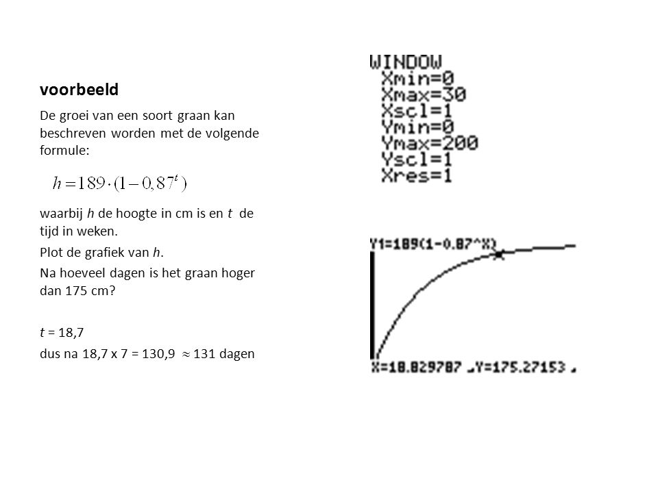 voorbeeld De groei van een soort graan kan beschreven worden met de volgende formule: waarbij h de hoogte in cm is en t de tijd in weken.