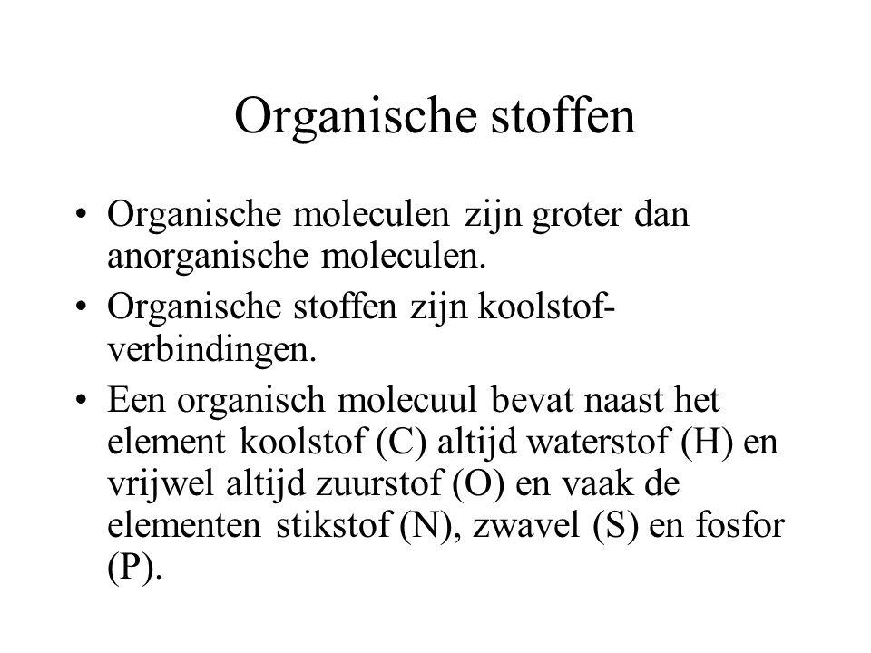Organische stoffen Organische moleculen zijn groter dan anorganische moleculen. Organische stoffen zijn koolstof-verbindingen.