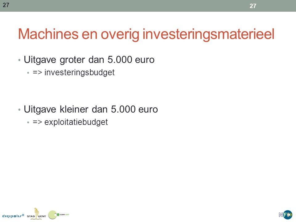 Machines en overig investeringsmaterieel