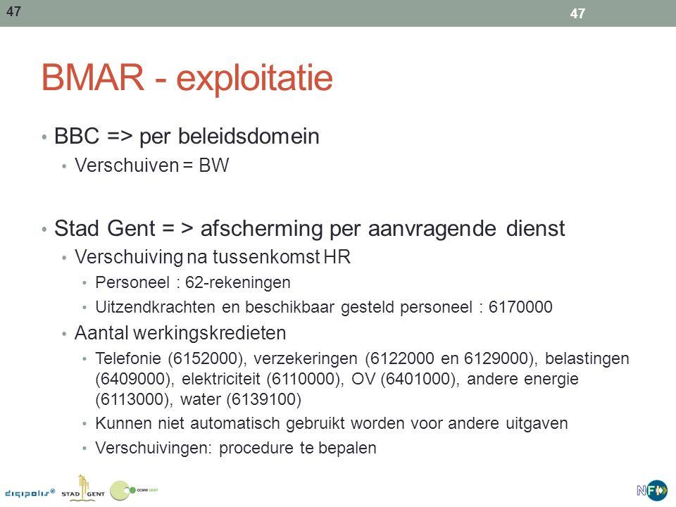 BMAR - exploitatie BBC => per beleidsdomein