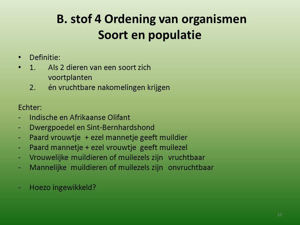 B. stof 4 Ordening van organismen Soort en populatie