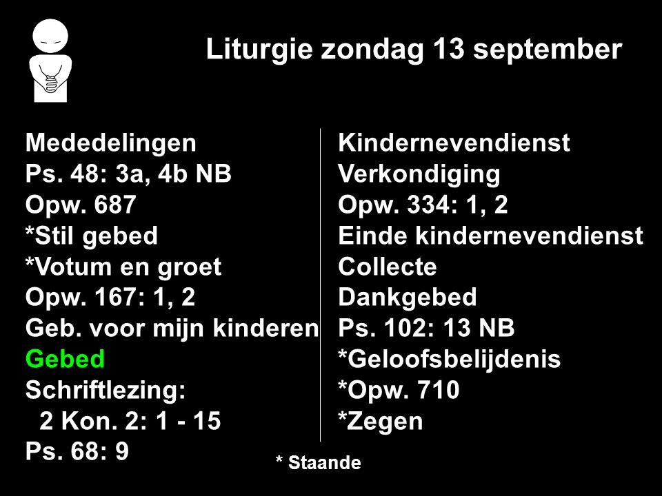 Liturgie zondag 13 september
