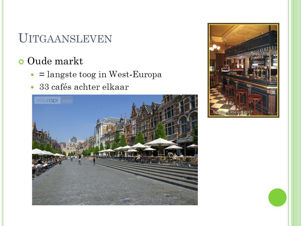 Uitgaansleven Oude markt = langste toog in West-Europa