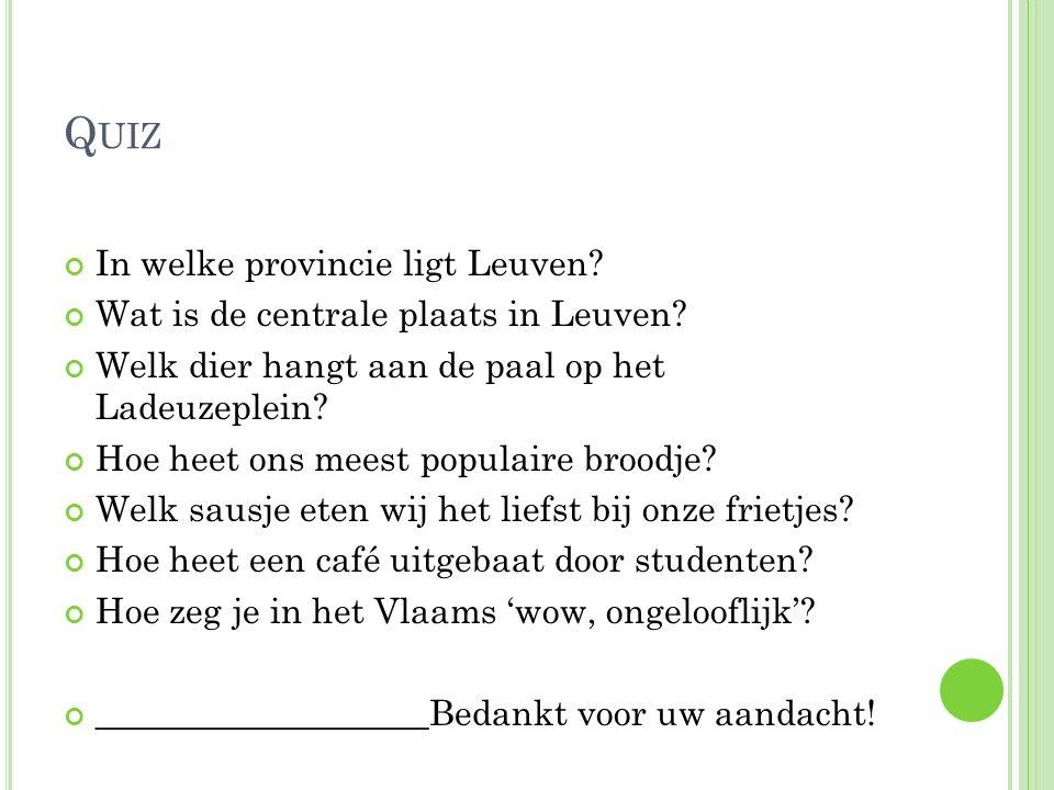 Quiz In welke provincie ligt Leuven