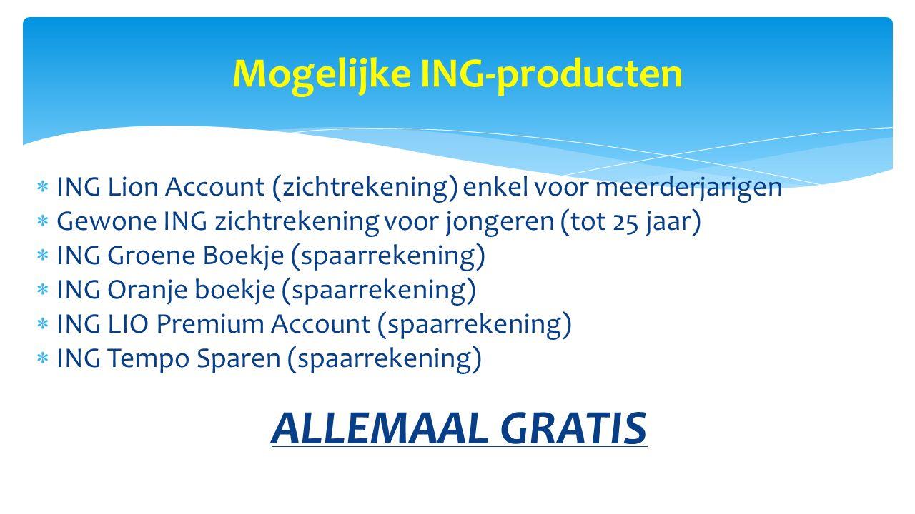 Mogelijke ING-producten