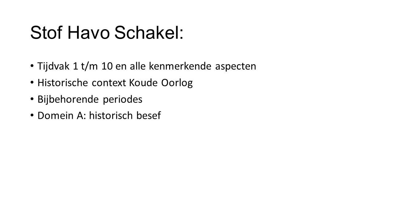 Stof Havo Schakel: Tijdvak 1 t/m 10 en alle kenmerkende aspecten