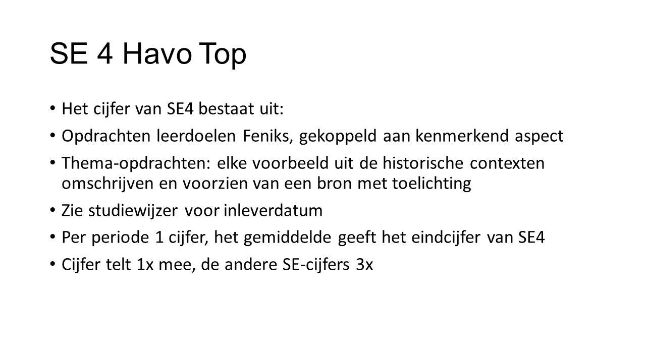 SE 4 Havo Top Het cijfer van SE4 bestaat uit: