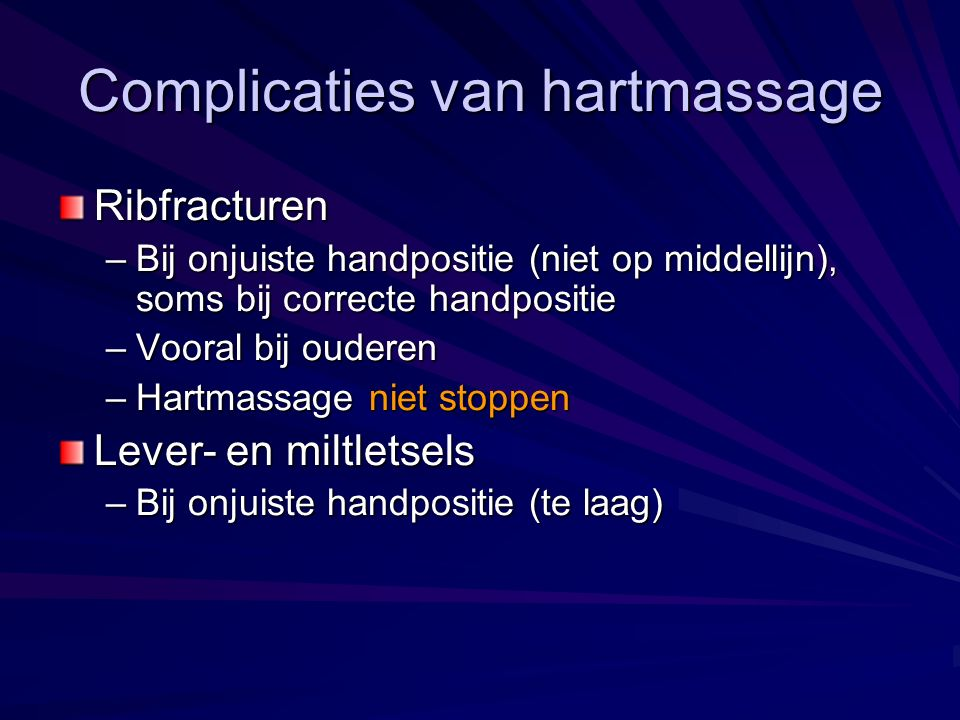 Complicaties van hartmassage