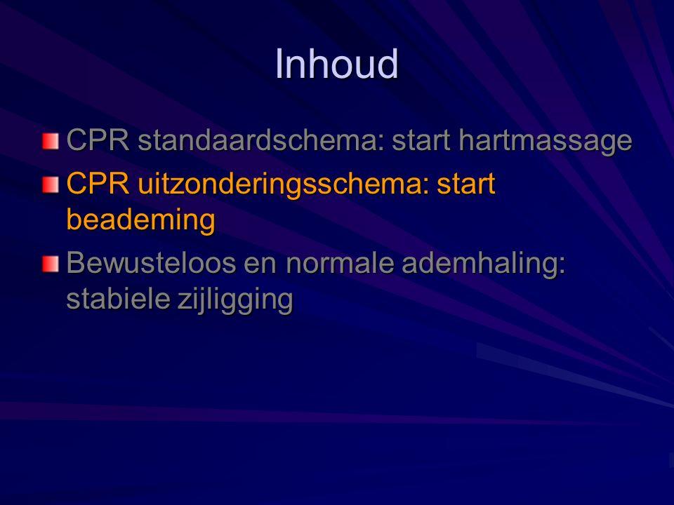 Inhoud CPR standaardschema: start hartmassage