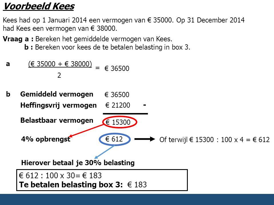 Voorbeeld Kees Kees had op 1 Januari 2014 een vermogen van € 35000. Op 31 December 2014 had Kees een vermogen van € 38000.
