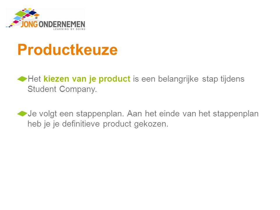 Productkeuze Het kiezen van je product is een belangrijke stap tijdens Student Company.