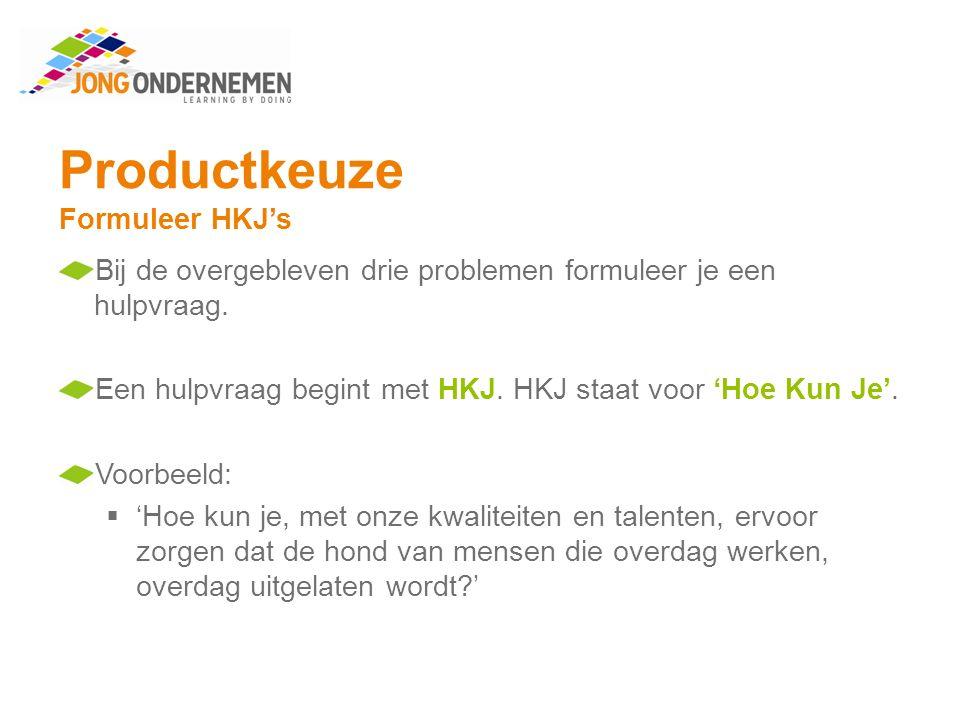 Productkeuze Formuleer HKJ's