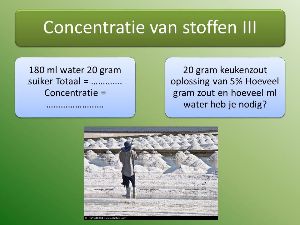 Concentratie van stoffen III