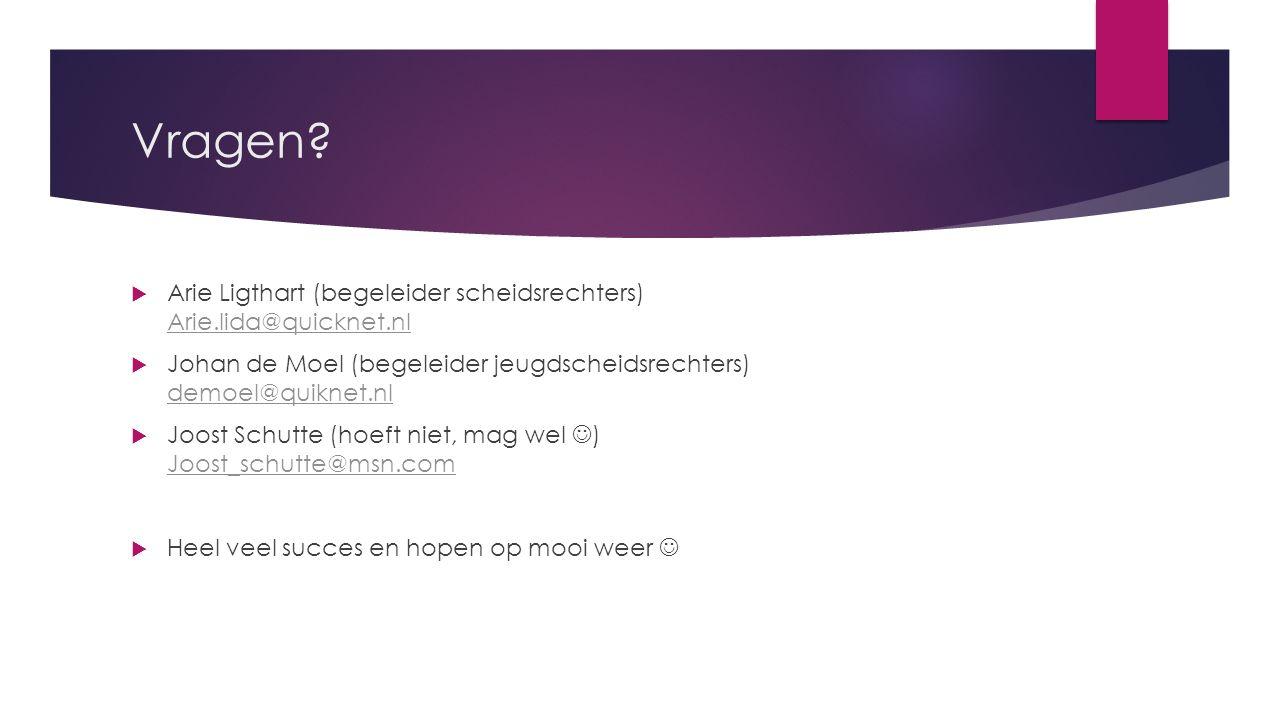 Vragen Arie Ligthart (begeleider scheidsrechters) Arie.lida@quicknet.nl. Johan de Moel (begeleider jeugdscheidsrechters) demoel@quiknet.nl.